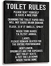 Toilet Rule Sign-Please Seat, Home Wall Art Vintage Bathroom or Toilet Rule Decorative Sign