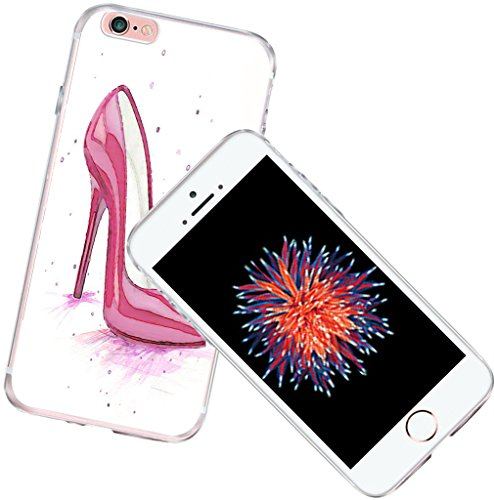 CCLOT 6S Case for Girls Silicone Flexible Cover Protector Compatible for iPhone 6/6S Pink Unique Designer Fashion Girl High Heel Shoes Design (TPU Protective Silicone Bumper Skin)