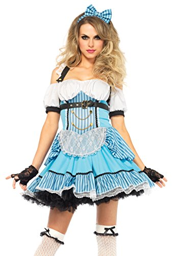 Leg Avenue Women's 3 Piece Rebel Alice Costume, Blue/White, Large -