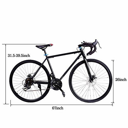 Garain 21 Speed 700C Aluminum Road Commuter Racing Bike Disc Brakes Bicycle Cycle Black