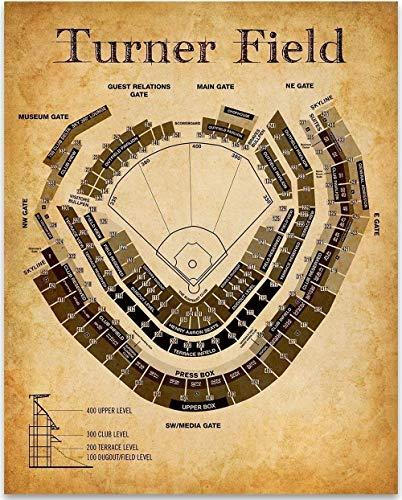 Turner Field Baseball Seating Chart - 11x14 Unframed Art Print - Great Sports Bar Decor and Gift Under $15 for Baseball Fans