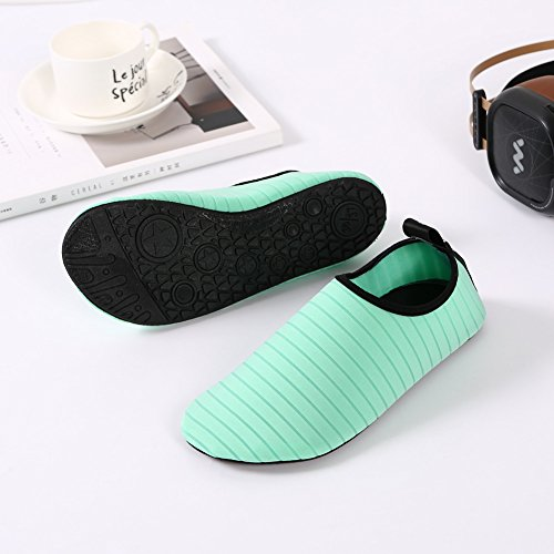 SENFI Water Shoes Athletic Aqua Sock For Water Sport Beach Pool Boat Green tZUbi6