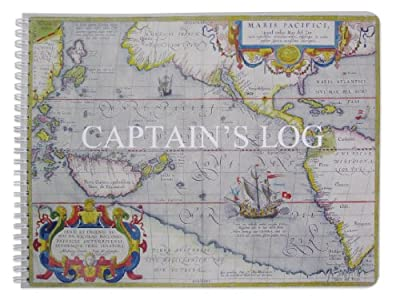 """BookFactory Captain's Log Book / Boat Log Book / Ship's Log Book / Nautical Log Book - 100 Pages, Full Color Cover with Translux Protection, 11"""" x 8 1/2"""", Wire-O Binding (LOG-100-CPT-011)"""