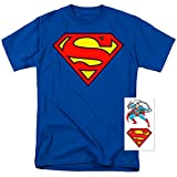 Superman Classic Logo T Shirt and Exclusive Stickers (Large)