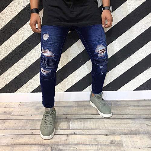 Hombres Pantalones,STRIR Hombre Jeans Delgado Biker Dril de algodón con Cremallera Pantalones deshilachados Flacos Pantalones Rip con Distressed Azul
