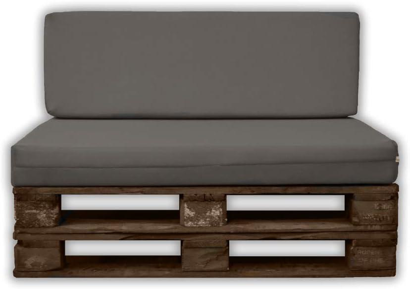 MICAMAMELLAMA Pack Asiento + Respaldo para Sofá de Palet Exterior e Interior - Funda Gris de Tejido 3D Hipertranspirable - Espuma HR Alta Densidad - Grosor 12cm