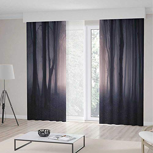 TecBillion Blackout Window Curtain,Farm House Decor,Window Drapes for Living Room Bedroom,Path Through Dark Deep in Forest with Fog Halloween Creepy Twisted Branches Picture,157Wx94L Inches]()