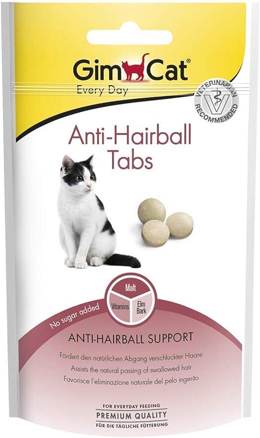 GimCat Anti-Hairball, comprimidos antibolas de pelo - Snack para gatos funcional que favorece la expulsión natural de las bolas de pelo - Pack de 8 unidades (8 x 40 g): Amazon.es: Productos para mascotas