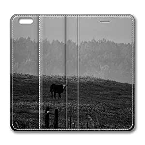 iPhone 6 Plus Case, Fashion Customized Protective PU Leather Flip Case Cover Cow Bw for New Apple iPhone 6(5.5 inch) Plus