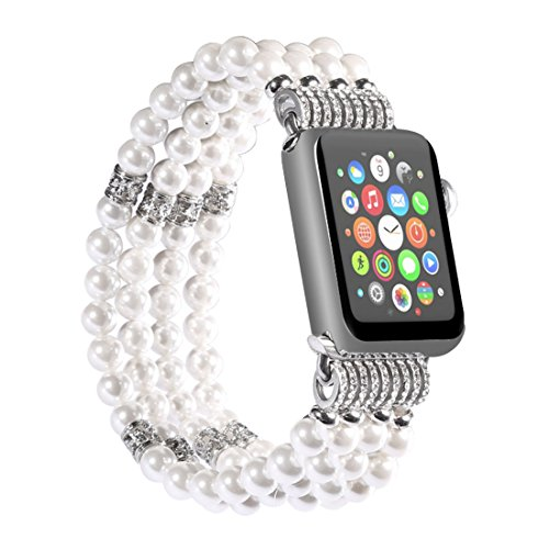 - dufu-beauty-store for Apple Watch Band, Elastic Wristband Faux Pearl Beaded Bracelet Replacement iWatch Strap Rhinestone Protective Case for Apple Watch 42mm,White
