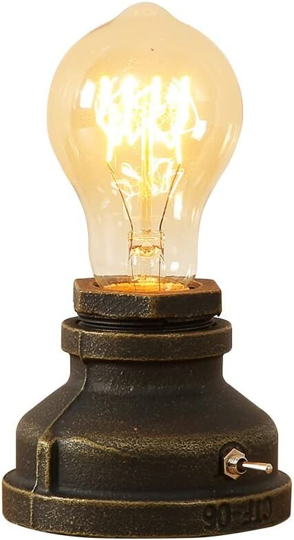 INJUICY Hierro Base Steampunk Lámpara Escritorio Antiguo Metal Tubo Lámpara de Mesa de Luz del Escritorio Lámpara de Mesilla Noche para Cafe Bar Estudio de Luz Nocturna de la Cabecera (#A)