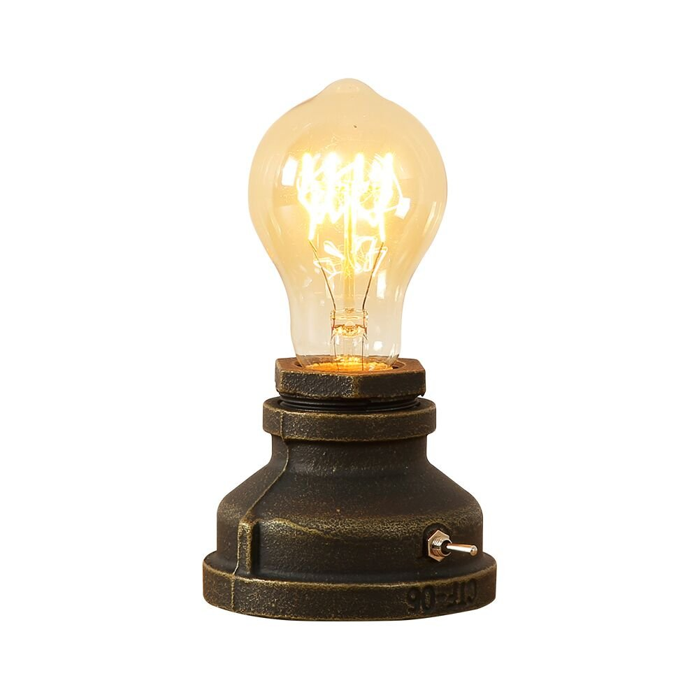 INJUICY Vintage Table Lamps, Steampunk Desk Lamp Base with Switch for Bedside, Bedroom Living, Dining Room, Cafe Bar, Hallway Decor(Without Bulbs)