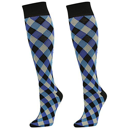 Cotton Checker Dress - Business Suit Socks, SUTTOS Mens Groomsmen Wedding Blue Black Diamond Sharp Checker Heavy Duty Reinforced Knee High Long Tube Over The Calf Party Dress Socks Father's Day Socks,2 Pairs