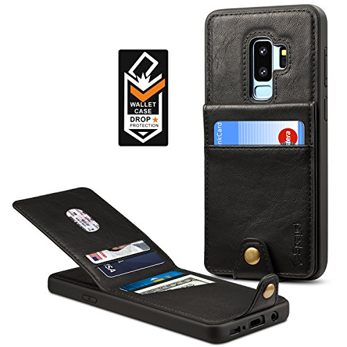 Samsung Galaxy S9 Plus Wallet Case for Galaxy S9 Plus Credit Card Case Spaysi Galaxy S9 Plus Leather Wallet Case Magnetic Closure Kickstand Gift Box for S9Plus (Black) by Spaysi