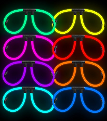 Lumistick 100 Aviator Glow Eyeglasses - Assorted Color Mix - Fun Party Favor Sunglasses with a Colorful Neon Twist