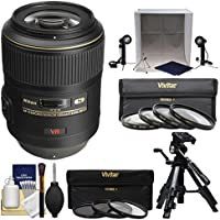 Nikon 105mm f/2.8 G VR AF-S Micro-Nikkor Lens with 3 UV/CPL/ND8 & Macro Filters + Portable Light Box + Macro Tripod + Kit