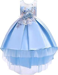 Jimmackey- Bambina Bowknot Vestito Pizzo Floreale Tutu Abito Principessa Tulle Lungo Dress Cerimonia