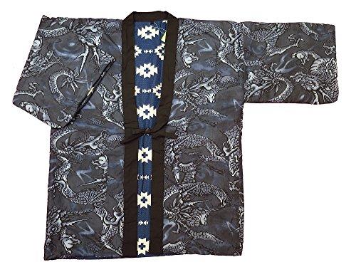 【비상하는 용・블루 그레이】 일본 무늬면 들어감 반(半)고지 않겠 리버시블 남성용 프리 사이즈 일본 방한복 한텐