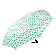 Mosiso Auto Open/Close Windproof Wind Tested 55MPH Travel Sturdy Folding Umbrella for Men and Women, Hot Blue Water Ripple