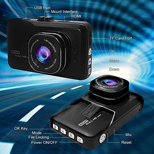 Dash CAM, cámara de salpicadero para Coches con Full HD 1080P 170 Grados Super Gran Angular, Pantalla TFT, G-Sensor, visión Nocturna, WDR, grabación en ...