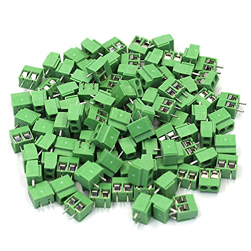 M-Aimee 100PCS 2 Pole 5 mm Pitch PCB Mount Screw Terminal Block Connector (10A 300V)
