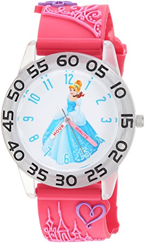 Disney Girl's 'Princess' Quartz Plastic Casual Watch, Color:Pink (Model: WDS000397)