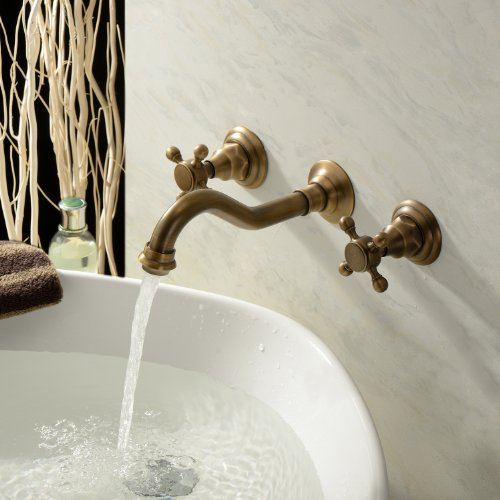 Lightinthebox Two Handle Wall Mount Antique Inspired Solid Brass Bathroom Sink Faucet Bathtub Mixer Taps Long Curve Spout Vessel Sink Bath Shower Plumbing Fixtures Roman Tub Bar Faucets