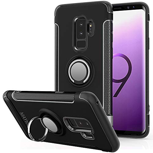 MAYtobe Galaxy S9 Plus Case - Bumper Cover case for Samsung Galaxy S9 Plus Case PC with TPU Shock-Absorption 360 Rotating Heavy Duty Anti-Fingerprint Anti-Scratch - Black