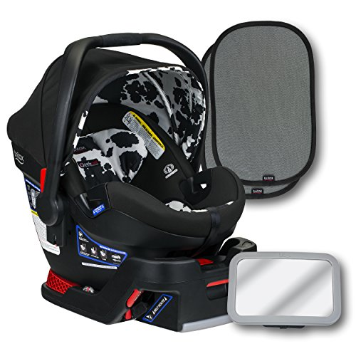 Britax B-Safe Ultra Infant Car Seat, Cowmooflage, Back Seat Mirror, and 2 EZ-Cling Window Sun Shades ()