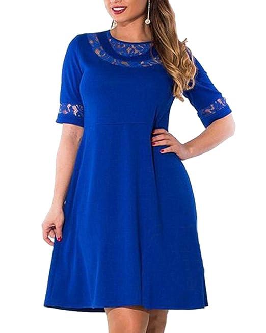 Vestidos De Fiesta De Encaje Mujer Media Manga Para Gorditas Azul L