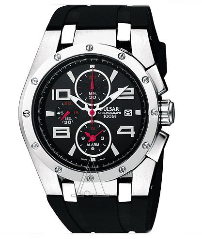 Pulsar Rubber Watch - Pulsar Chronograph Men's Stainless Steel Case Rubber Strap Black Dial Quartz Movement Chronograph Watch PF3761