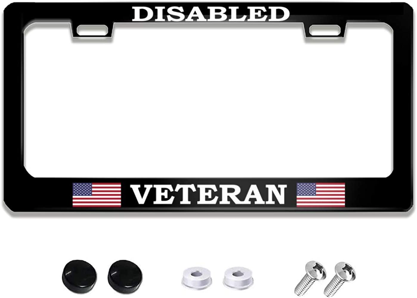Disabled Veteran US Army Universal Black License Plate Frame Holder Aluminum Metal Auto License Tag Holder Funny