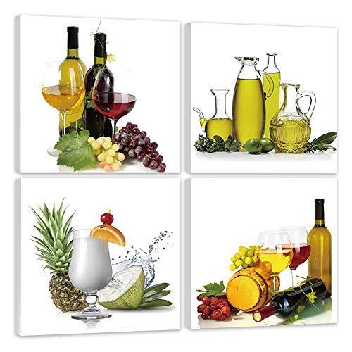Shuaxin 4pcs/set Fresh Fruit and Bottle Kitchen Picture Photo Print on Square Canvas Framed and Ready for Hang Wall Art for Home Decor for Kitchen Wall Decor 12*12inch