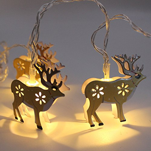 Lvydec Reindeer LED String Lights, Battery-Operated Christmas Decoravite Lights with 10 Metal Reindeer Figurines, Indoor/Outdoor Use for Winter Festival Xmas Tree Decor