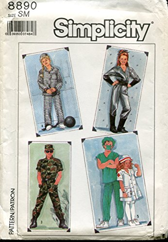 Simplicity Pattern 8890 Adult Spaceman, Doctor, Nurse, Soldier and Prisoner Costumes, Size Small (Chest 34-36)