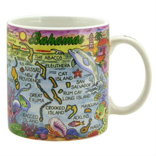 Bahamas Map Caribbean Souvenir Collectible Large Coffee Mug (4