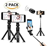 (2 Pack) F.R Selfie Stick Bluetooth, Extendable Selfie Stick with Wireless Remote and Tripod Stand Selfie Stick for iPhone X/iPhone 8/8 Plus/iPhone 7/iPhone 7 Plus/Galaxy S9/S9 Plus/Note 8/S8 /S8 Plus