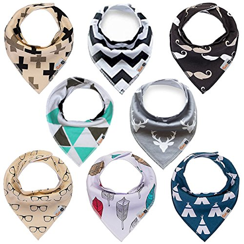 Knotted Fleece Scarf (Bandana Drool Bibs 8-pack for Baby Boys, Girls, unisex, Baby Shower Gift,