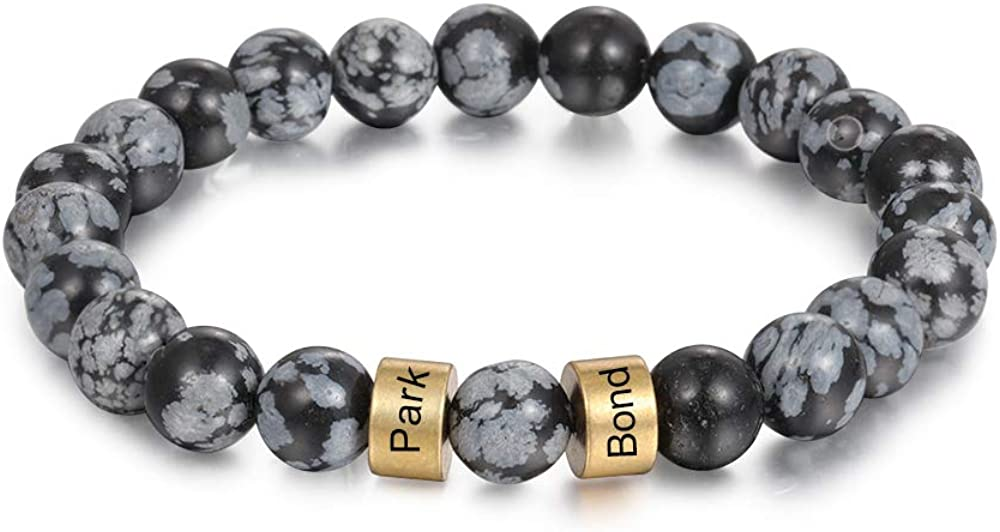Personalized Stone Beads Bracelets for Men Women Lava Beads Bracelet Tiger Eye Beads Bracelet with Custom Name Engraved Bracelet for Fathers Day