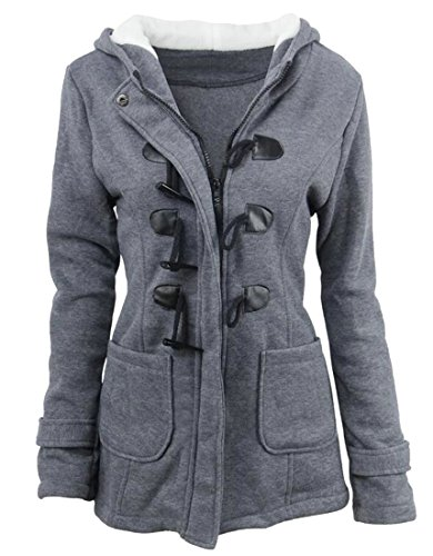 JXG-Women Missy Hooded Trench Coat Classic Toggle Duffle Coat Dark Gray US 5XL