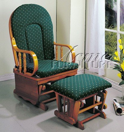 Bon Glider Rocker Chair With Ottoman Green Cushion Oak Finish