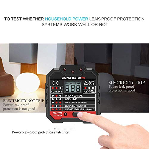 Protmex LCD Display 48-250V/45-65Hz US Plug Socket Outlet Tester Voltage Detector Wall Plug Breaker Finder With Voltage Test And RCD (or GFCI) Test For Home Appliance Testing