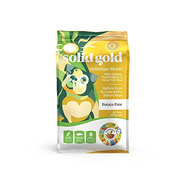 Solid Gold – Holistique Blendz with Oatmeal, Pearled Barley & Ocean Fish Meal – Holistic Sensitive Stomach Dry Dog Food for Adult & Senior Dogs – 28.5lb Bag