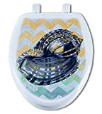 Artisans Seats Decorative Toilet Seats, BLUE SEASHELL, Made In America: Round