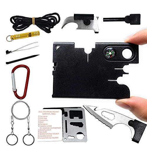 SYLC 12 In 1 Credit Card Wallet Multi-Tool Outdoor Rescue Card Tool Exquisite Gift Set Suitable For Portable (A) (Card Multitool)