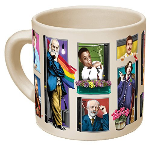 Great Gays Heat Changing Coffee Mug - Add Hot Liquid and Watch The Most Famous Gays From History Come Out of the Closet - Comes in a Fun Gift Box - by The Unemployed Philosophers Guild