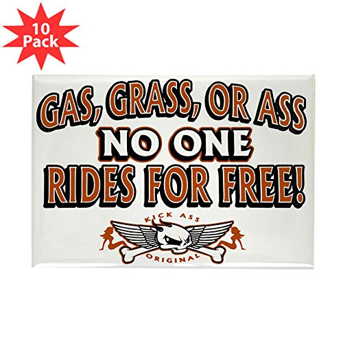 Rectangle Magnet (10 Pack) Gas Grass or Ass No One Rides For Free