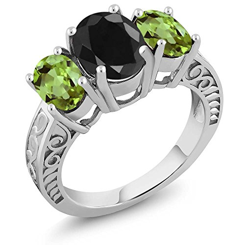 Gem Stone King 4.14 Ct Oval Black Sapphire Green Peridot 925 Sterling Silver Ring (Size 8)