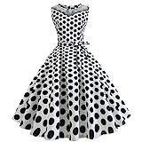 Mose Party Swing Dresses for Women, Women Vintage Dot Printing Sleeveless Mesh Patchwork Evening Elegant Tops Wave Point Retro Dress New (XL, White)