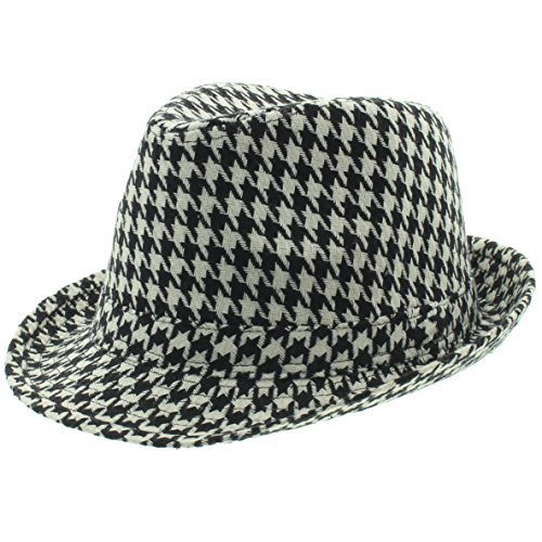 Milani Short Brim Fedora Hat with Houndstooth Classic Bryant Pattern White/Black (Small/Medium)